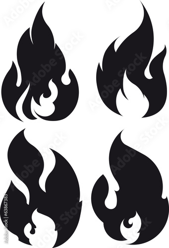 Set of 4 black fires for design or tattoo