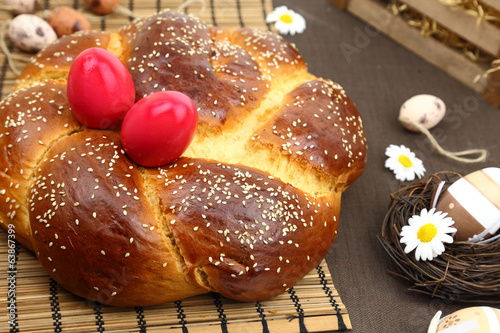 Fotobehang Brood Easter bread and decoration eggs