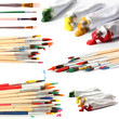 Collage of paint brushes with acrylic paint in tubes isolated