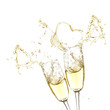 Glasses of champagne with splash, isolated on white
