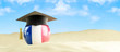 France language on holiday, graduation cap at the beach 3d Illus