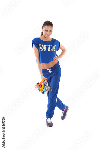 The girl with multi-colored headphones on white background