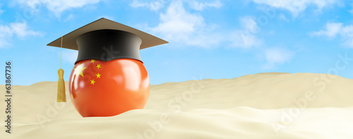China language on holiday, graduation cap at the beach