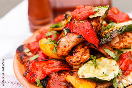 grilled vegetables and chicken
