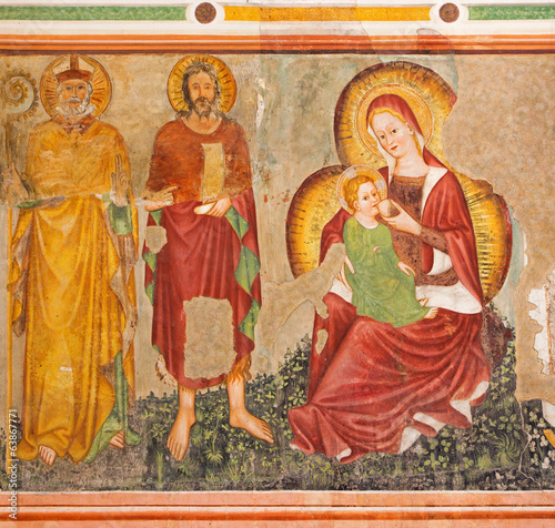 Treviso - Fresco of Madonna of humanity in st. Nicholas church