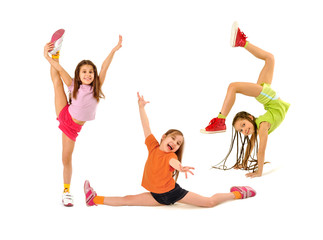 Happy kids doing exercises