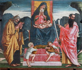 Treviso - Madonna with the child and apostles Peter and Paul