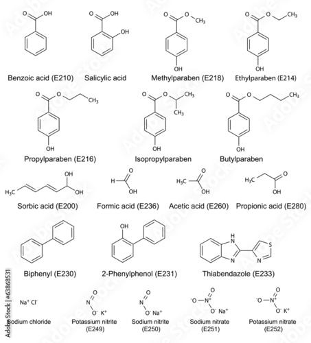 Structural chemical formulas of food and cosmetic preservatives
