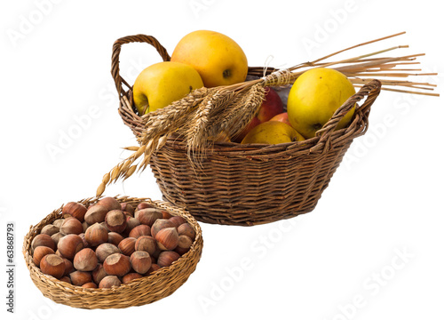 Apple harvest, bundle and hazelnuts