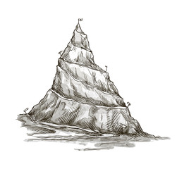 Hand drawn mountain. Mountain peak. serpentine road. Vector.