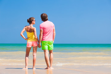 back view of couple holding hands on tropical beach