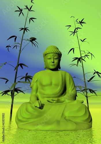 Green meditation - 3D render