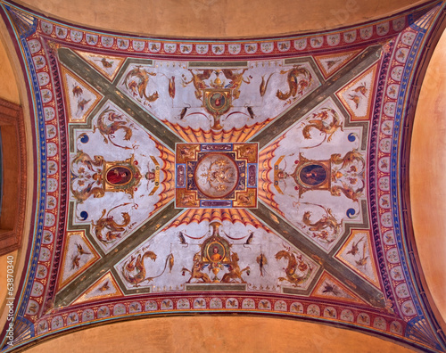 Bologna - ceiling of external corridor of Via Farini