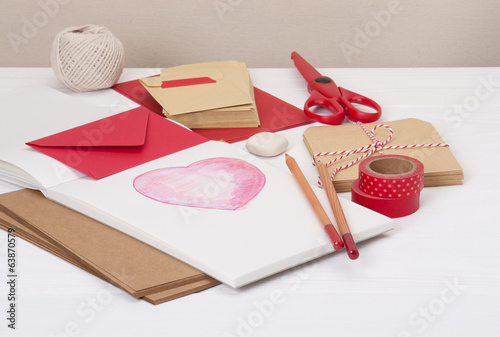 Assorted Stationery Items On Desk
