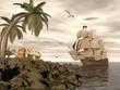 Pirate ship finding treasure - 3D render - 63870707