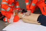 hands of health care professionals who practice resuscitation poster