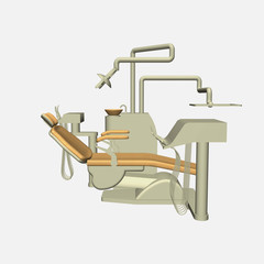 Dentist chair 3d side view