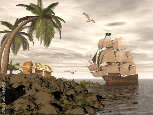 Pirate ship finding treasure - 3D render - 63870707