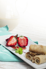 crepe - pancake with strawberry