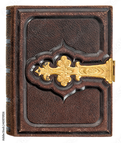 antique book with golden decoration and leather cover