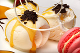 Gourmet vanilla ice cream with macaroons