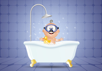 Baby in bathroom with diving mask