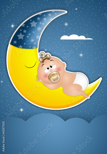 Baby asleep on the moon in the night
