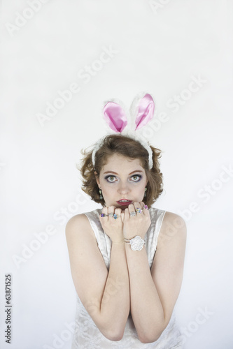Woman wearing rabbit ears