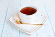 canvas print picture - Cup of tea on table close-up