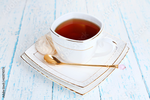 Cup of tea on table close-up