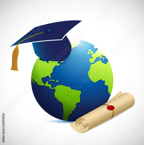 globe and education illustration design