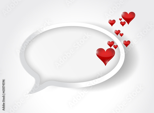 message bubble and love hearts. illustration