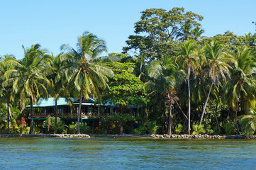 Waterfront house with tropical garden