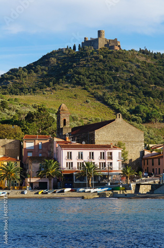Beach village of Collioure and fort upon the hill