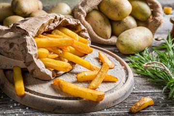 Closeup of homemade fries with salt