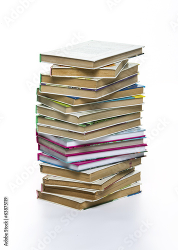 Book pile isolated on white background, contoured