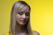 Girl on yellow background