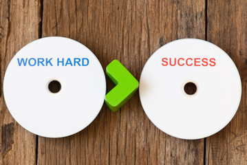 Success and work hard concept with compact disk