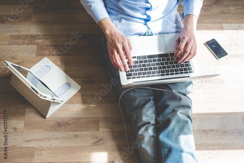 elegant business multitasking multimedia man - 63875326