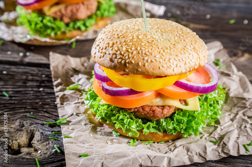 Two burgers made ​​from fresh vegetables