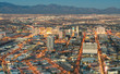 Leinwandbild Motiv Las Vegas Downtown - Aerial view of generic buildings before sun