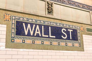 Wall Street subway mosaic sign - New York City underground