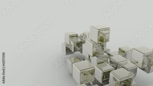 3D ANIMATION FLOW OF PARTICULES CUBES