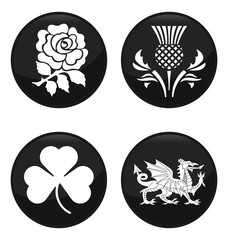 United Kingdom emblem black button set