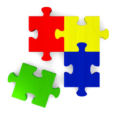3d multicolor puzzle with missing piece on white, top view