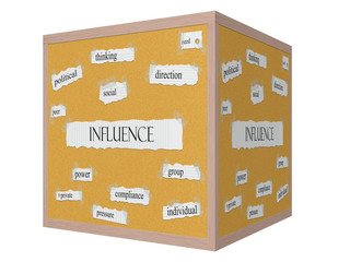 Influence 3D cube Corkboard Word Concept