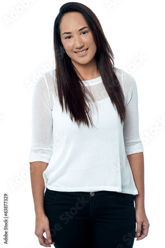 Attractive young casual woman smiling
