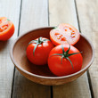 fresh tomatoes in an old bowl