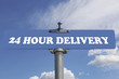24 hour delivery road sign