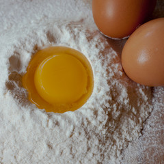 Eggs and flour on the table
